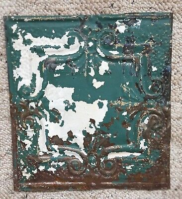 1890's 12 x 12 Antique Tin Ceiling Tile Green White Metal Reclaimed 146-18