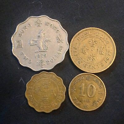 Hong Kong Lot of 4 coins 1977 1979 1983 $2 dollar 50 20 10 cents  all different