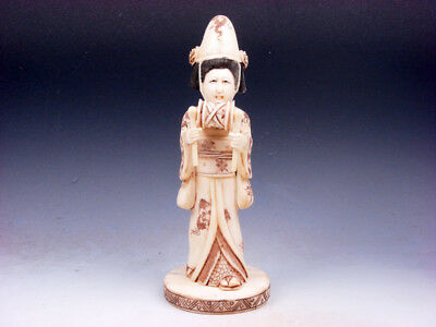Antique Japanese Bone Hand Crafted Ancient Lady Musician In Kimono Playing Drum