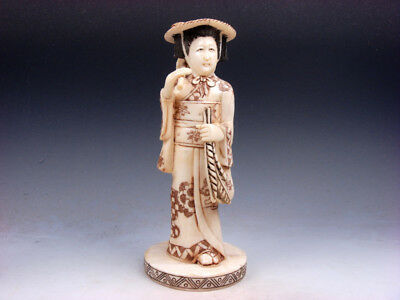Antique Japanese Bone Hand Crafted Ancient Lady Farmer In Kimono Holds Wheat Hoe