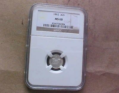 Ngc Ms60 1862 3 Cent Silver Piece - Uncirculated   - Coins
