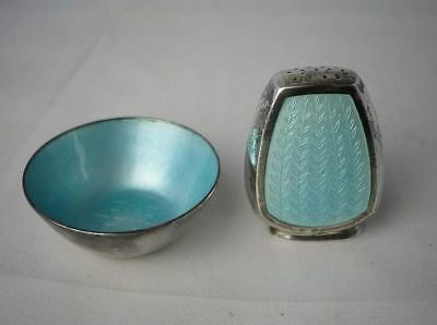 Vintage Danish STERLING SILVER Blue Guilloche Enamel Anton Michelsen Salt Pepper