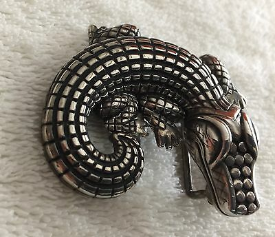 """Silver Alligator Belt Buckle - 2"""" Wide X 2"""" Tall -  Pre-Owned"""