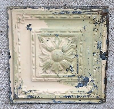 1890's 12 x 12 Antique Tin Ceiling Tile Tan Sage Green Metal Reclaimed 142-18