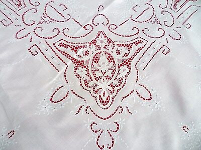 """122"""" x 74"""" Antique ITALIAN Embroidery WHITEWORK Lace LINEN Tablecloth"""