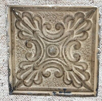 1890's 12 x 12 Antique Tin Ceiling Tile Buckskin Brown Metal Reclaimed 144-18