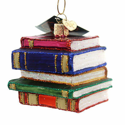 Old World Christmas STACK OF BOOKS Glass Knowledge Scholar 32112