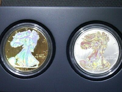 Gold Plated Silver Eagle Hologram Set with fields and Reverse in Gov Display box