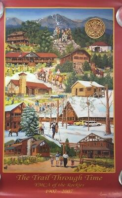 Attractive Centennial Art Poster YMCA of the Rockies Colorado Trail Through Time