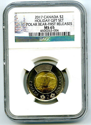 2017 Canada $2 Holiday Polar Bear Ngc Ms65 First Releases Toonie ! Rare Pop