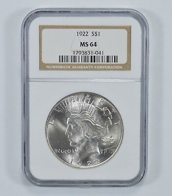 GRADED - 1922 Peace Silver Dollar - MS-64 - NGC - Authenticated and Graded *023