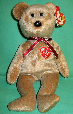 1999 Signature Bear TY Beanie Baby Gray Tan Teddy Mint MWMT Retired