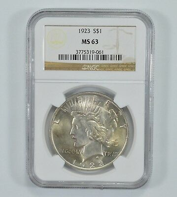GRADED - 1923 Peace Silver Dollar - MS-63 - NGC Graded *998