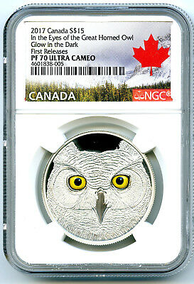 2017 Canada $15 Silver Ngc Pf70 Uc Glow In The Dark Eyes Of Great Horned Owl Fr