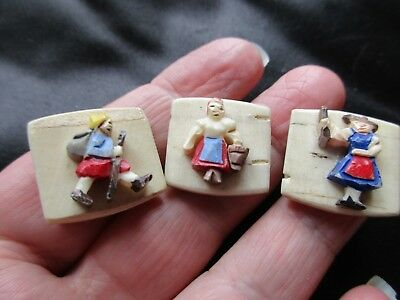 Antique Vintage Art Nouveau Deco German Swiss Hiker Maid Carved Beads Fob Charms