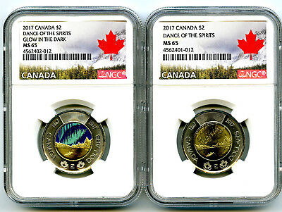2017 Canada $2 Glow In Dark Dance Of Spirits Ngc Ms65 Unc Toonie 2-Coin Set Rare