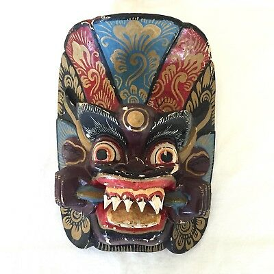 Vintage Tibetan Himalayan Nepalese Carved and Painted Demon Wood Mask