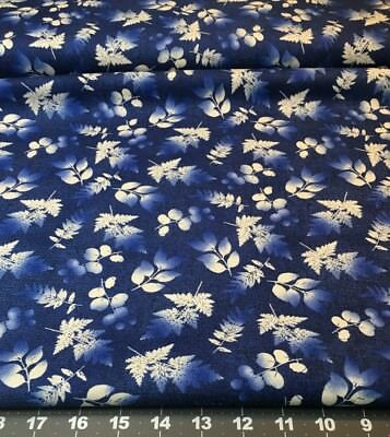 Denim Blues N White Floral Fabric Fat Quarter From Wilmington Prints