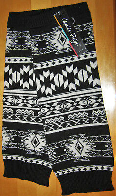 NEW Charlie Paige Leg Warmers Black & White Aztec Pattern Boot Socks Toppers NWT