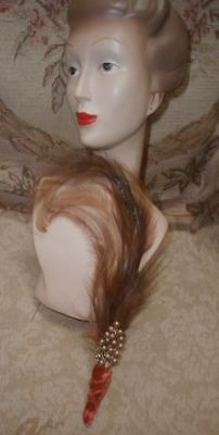 Antique French Bird Of Paradise Plumes Hair Ornament w Pearl Berries,Silk Small