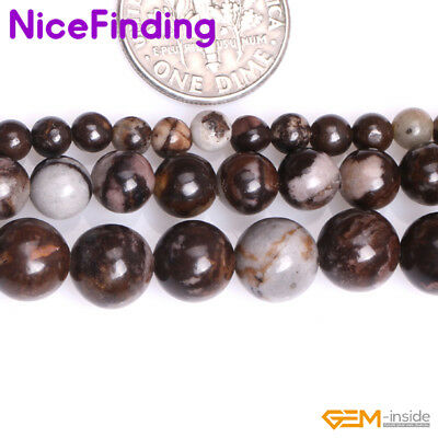 "Natural Round Brown Outback Jasper Precious Stone Beads For Jewelry Making 15""NF"