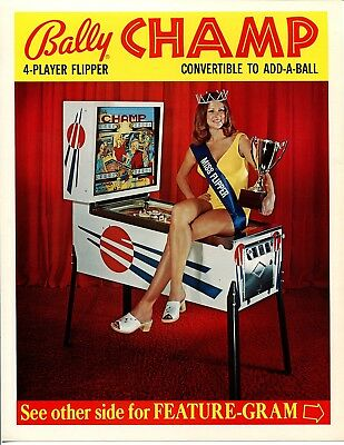 Champ Bally Pinball Flyer / Brochure / Ad Mint Condition