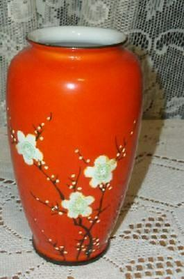 Vintage Chic Oriental Blossoms Moriage Orange Vase Japan Shabby Nice