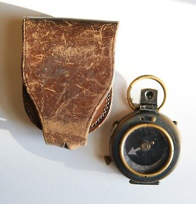Early Vintage Military Compass With Leather Case
