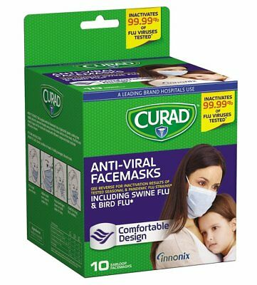 Curad Antiviral Medical Face Mask Pleated box of 10 CUR384S