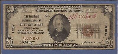 CH 1057,1929 T-1 $20 National Currency,The Exchange NB of Pittsburgh,PA,VG,Nice!