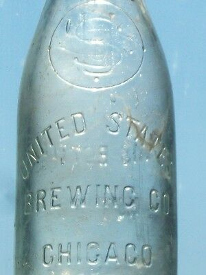 Rare United States Brewing Chicago, ILL. W. F. & S. MIL. Affixed top beer bottle