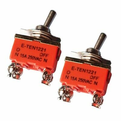 2pcs 1221 AC 250V 15A ON/OFF 2 Positions 4PIN DPST Interrupteur à Bascule Levier