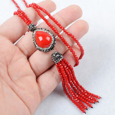 "3Pcs 28"" Red Shell Pearl Paved CZ Necklace With Quartz Beads Tassel Chain BJA405"