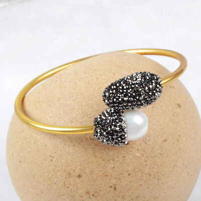 3Pcs White Shell Pearl Paved CZ Brass Gold Plated Open Bangle Jewelry DIY BJA436
