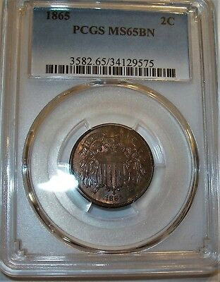 Lot of One PCGS-Certified, MS65BN, 1865, Two-Cent Coin: Spots of Red-Brown