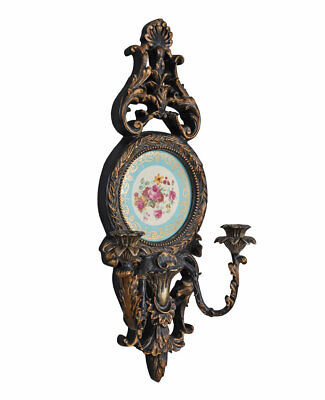Candelabrum Baroque Wall Lights Porcelain Medallion Candlestick Holder Antique