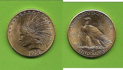 10 $ USA Indian Head Gold 1914 D mit Motto