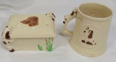 Vintage, Retro Design Dog, Spaniel,  Butter Dish and Lid, and Tankard Set,