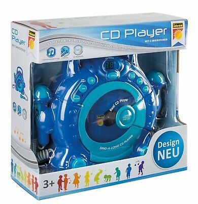 Idena - Kinder CD Player SING A LONG mit 2 Mikrophonen und LED Display, blau