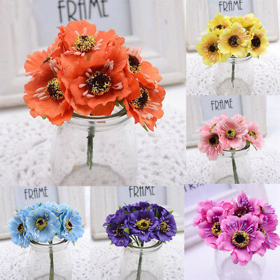 Hot sale 6pcs artificial fake poppy flower bunch boeket bouquet diy hot sale 6pcs artificial fake poppy flower bunch boeket bouquet diy home decor mightylinksfo
