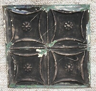 1890's 12 x 12 Antique Tin Ceiling Tile Black Metal Reclaimed 145-18