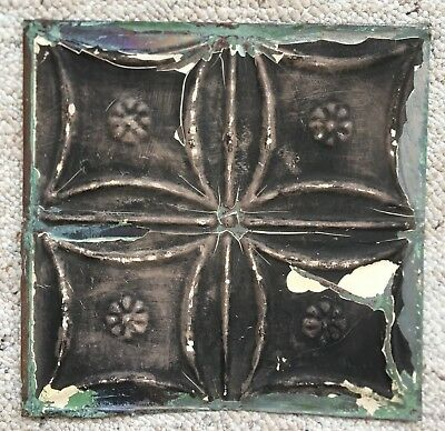1890's 12 x 12 Antique Tin Ceiling Tile Black Metal Reclaimed 148-18
