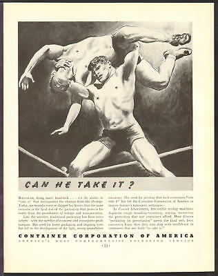 Container Corp of America MAY 1936 WRESTLING Original Print Ad