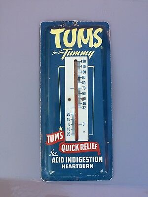 Vintage Tums for the Tummy Thermometer 1940's 50's Quick Relief Acid Indigestion
