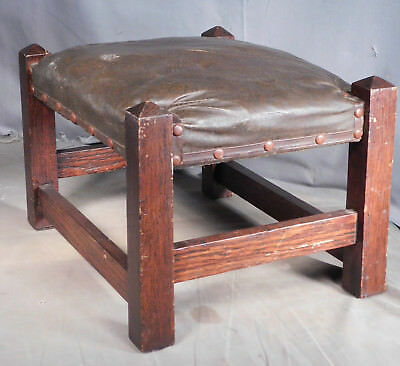 Antique Art Crafts Mission DARK Oak Foot Stool FULL STRETCHERS Faux Leather NICE
