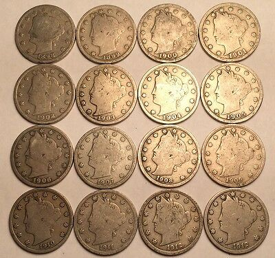 ALL 16 NICE Coins 1898 - 1912-D Liberty V NICKELS 5c! Starter Set! FREE P/H