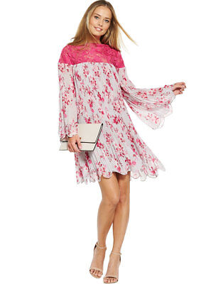 V By Very Pleated Lace Insert Swing Dress
