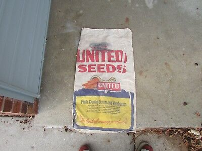 OLD Cloth Seed Sack UNITED SEEDS advertising