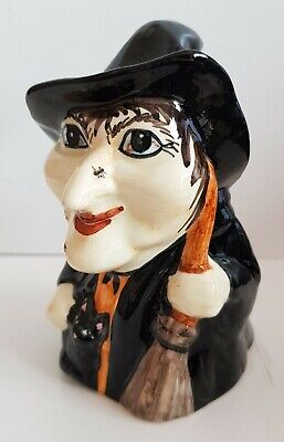 BABBACOMBE ENGLISH POTTERY Ceramic Witch Money Box Witch Black Cat Broom