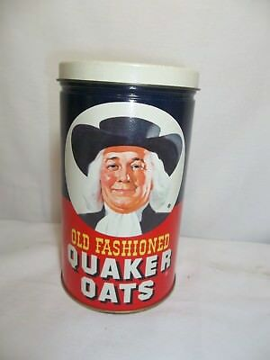 1982 Vintage Old Fashioned Quaker Oats Oatmeal Round Advertising Tin/canister